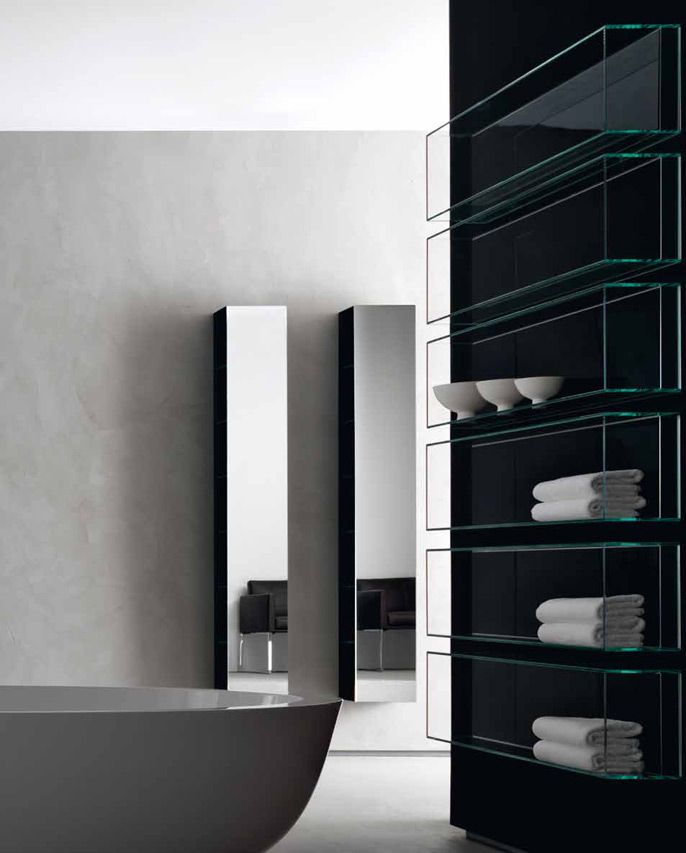 | P | Bathroom vertical medicine cabinets + glass wall mounted storage shelves