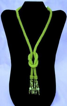 Lime Rope Knotted Necklace by CMTbeadwork on Etsy, $125.00: