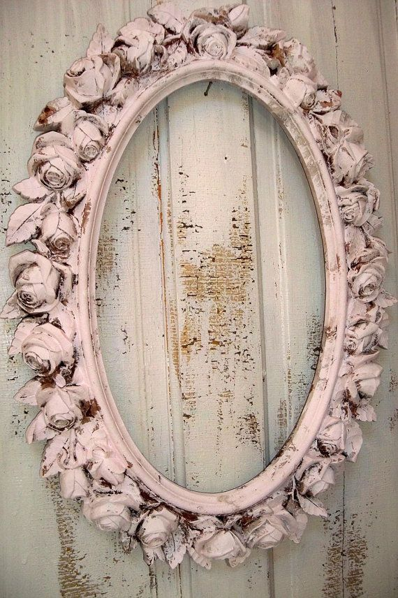 Reserved for B till Sat 12 Large picture frame pink ornate with roses vintage shabby chic oval distressed wall decor Anita Spero