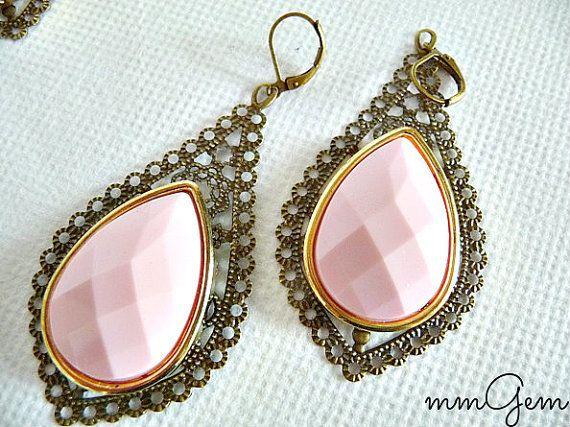 Pink statement earrings pastel pink statement earrings by mmgem