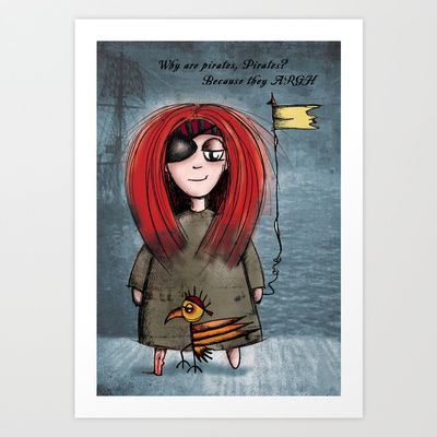 Quirky Pirate Art Print by Girl Quirky - $25.00