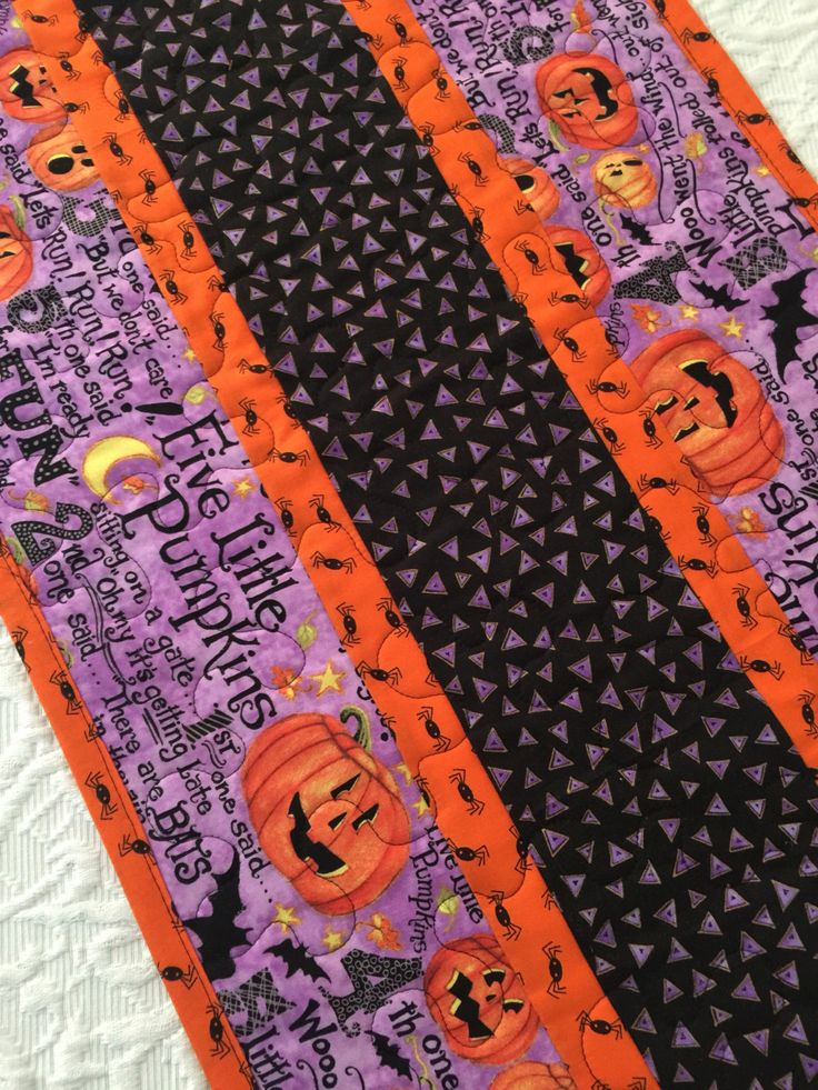 Halloween Pumpkin Table Runner Quilt, Spiders, Bats Quilt, Orange, Black, Purple, Quiltsy Handmade by KeriQuilts on Etsy