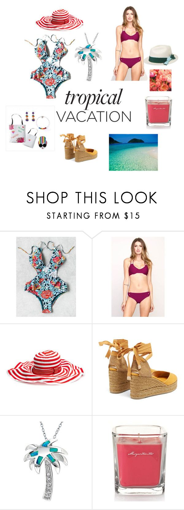 Tropical Vacation by mkadric on Polyvore featuring RVCA, Castañer, Bling Jewelry, Missoni Mare, Sensi Studio, Yankee Candle and Ultimate