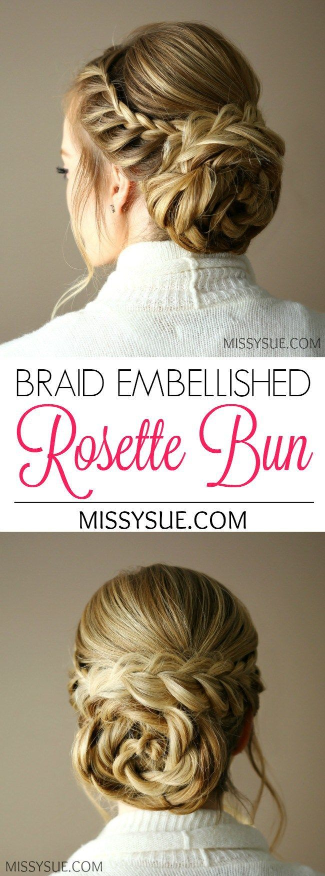 This Braid Embellished Rosette Bun is so fairly and feminine you will feel like a princess or queen wearing it.