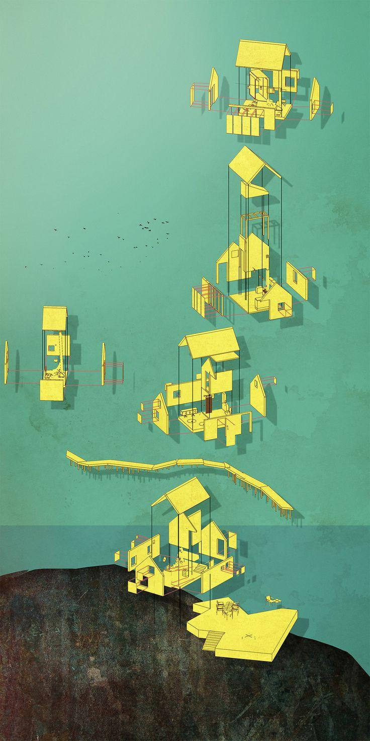 """""""Exploded axo, summer cabin Bjøro"""" Anders Sletten Eide 2013. 42 x 84cm."""