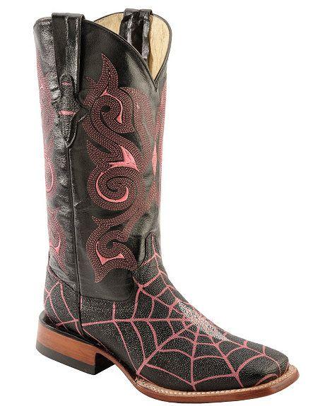 Ferrini Spider Web Stingray Print Cowgirl Boots - Wide Square Toe