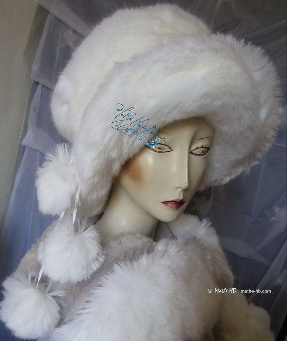 chapeau d'hiver capeline 3 pompons blanc loup en