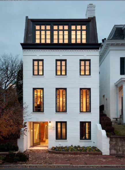 white painted brick - black frame windows