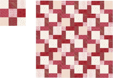 Learn how easy it is to make a Disappearing Nine Patch quilt.: Layout and Strip Piecing a Disappearing Nine Patch Quilt