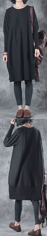 black casual sweater  long sleeve o neck knit dress