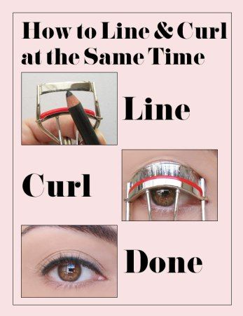 You can use your eyelash curler to apply eyeliner. Take your eyeliner and apply a layer to the top part of your eyelash curler. When you curl your lovely lashes, the eyeliner will transfer to your eyelid.