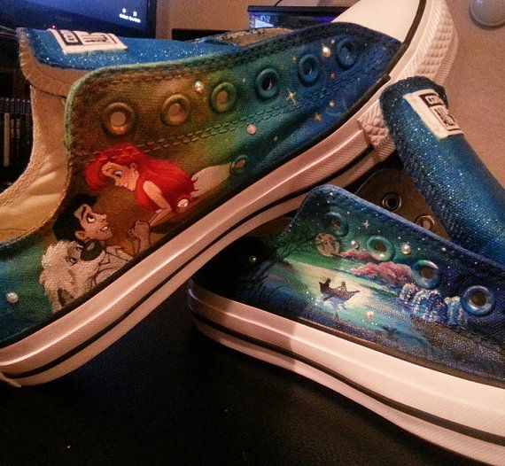 The Little Mermaid Hand Painted Shoes by CrystalCheriArt on Etsy