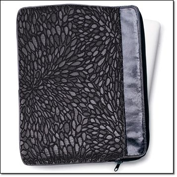"""Metallic Shimmer Laptop Case Fabric case with leatherlike metallic-look trim keeps her laptop cushioned and secure. Zip closure. 14 1/2 """" W x 11"""" H x 1"""" D. Fits most laptops with a screen size up to 16 1/2"""". Item#: 384-860 Brochure + Gift Guide:$14.99"""
