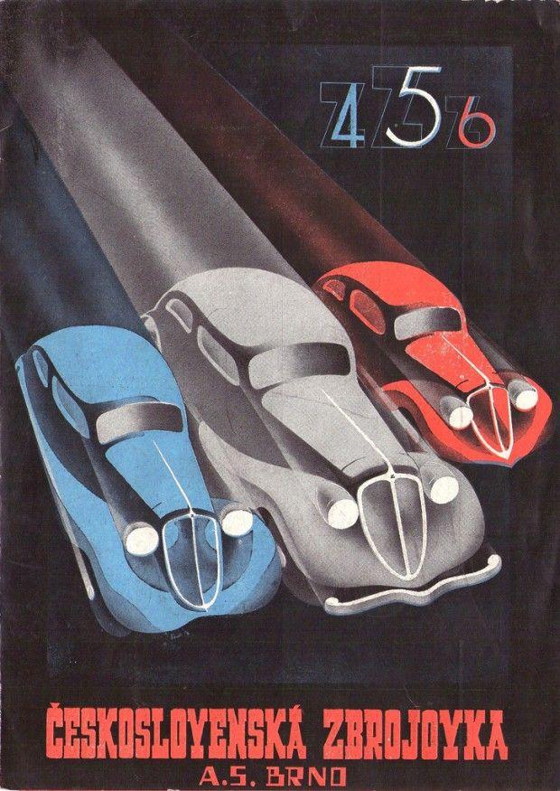Cover of 10th anniversary brochure for Zetka Automobiles. Features illustrations of Zetka models 4, 5 and 6. Year: 1935. Designer: František Kardaus.