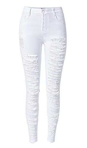 New Trending Denim: Olrain Womens Destroyed Ripped Hole High Waist Stretch Skinny Jeans US 16 White. Olrain Womens Destroyed Ripped Hole High Waist Stretch Skinny Jeans US 16 White   Special Offer: $22.99      288 Reviews Womens Destroyed Ripped Hole High Waist Stretch Skinny JeansHigh Waist,Hole,Ripped,WashedZip with Button Closure,PocketsPencil Skinny JeansMaterial: Denim Cotton...