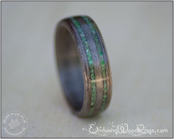 Grey Maple Wood Ring With Jade Inlays, Mens Wedding Ring, Wedding Bands, Jade Ring, Wood Rings For Men or Women