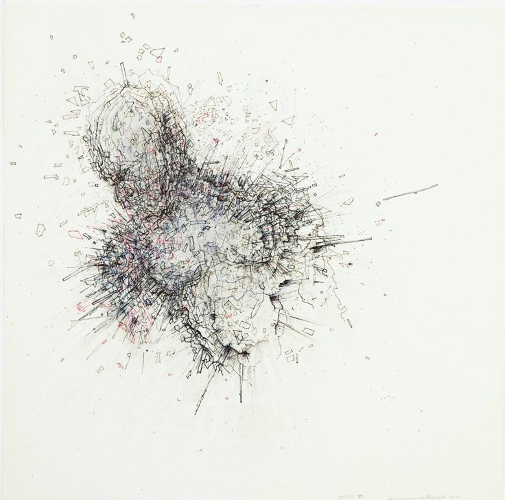Noise VI  2012  Fine liner, ink and charcoal   50 x 50 cm