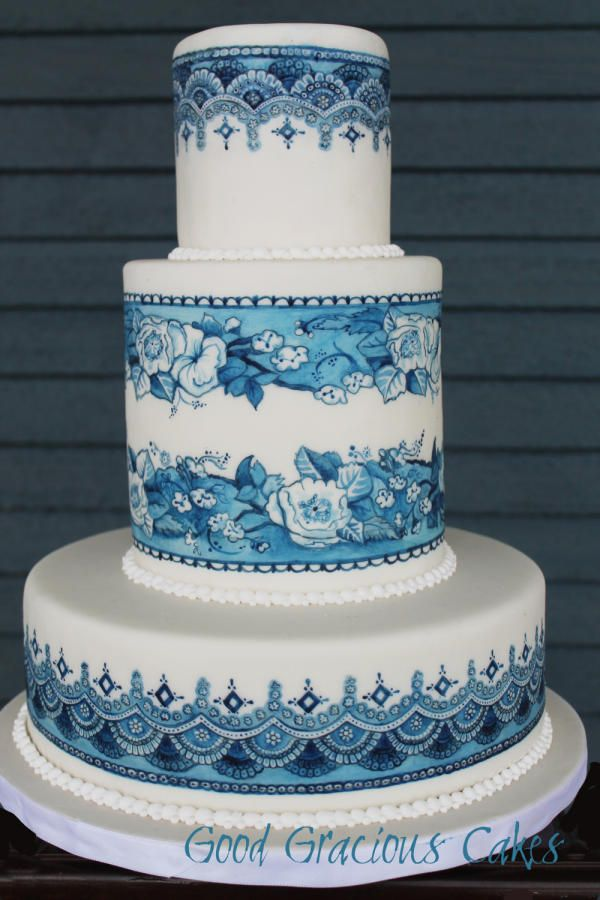 Blue and White Hand Painted Cake