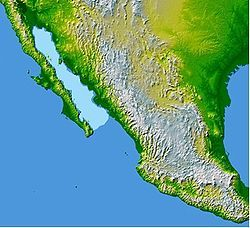 The Gulf of California (also known as the Sea of Cortez or Sea of Cortés or Vermilion Sea; locally known in the Spanish language as Mar de Cortés or Mar Bermejo or Golfo de California) is a body of water that separates the Baja California Peninsula from the Mexican mainland.