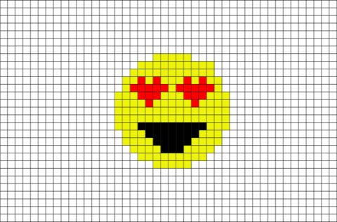 smiling face with heart shaped eyes emoji pixel art is generally known used as an expression of. Black Bedroom Furniture Sets. Home Design Ideas
