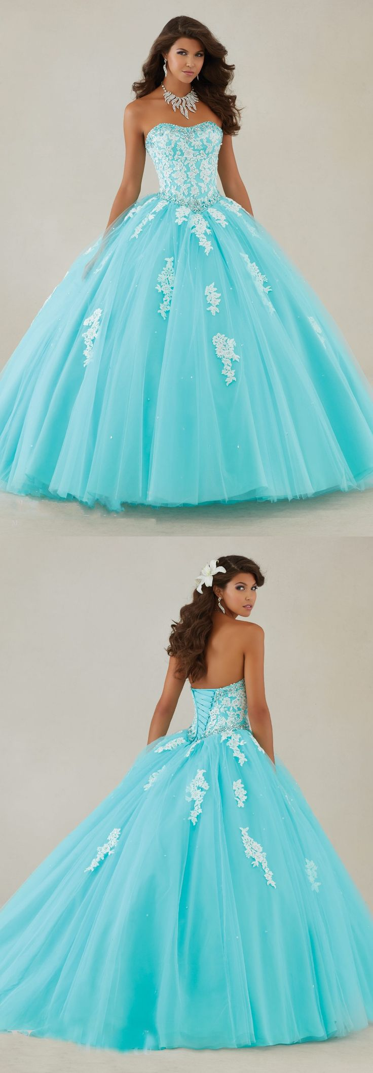 Blue Quinceanera Dresses,Ball Gown Dress,Appliques Quinceanera Dresses,Sweet 16 Dress,