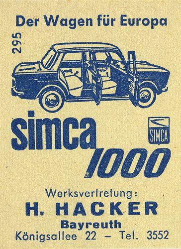 Hacker für Simca Had a little red Simca when we were little!