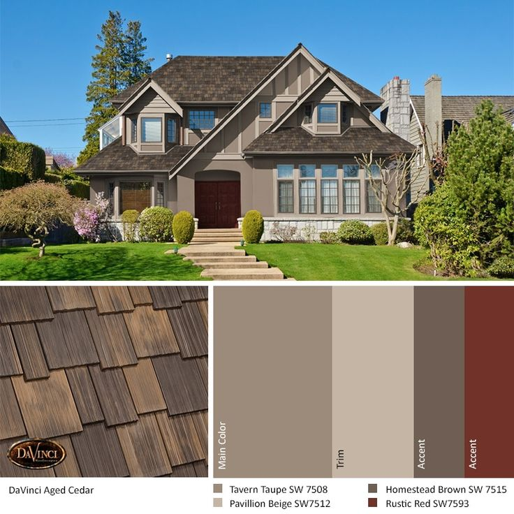 Best Exterior Color Schemes Aged Cedar Roof Davinci Shake In 640 x 480