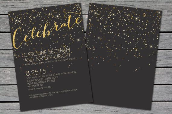 Black and Gold Confetti Wedding Invitation Glitter by ShelbyMadeit