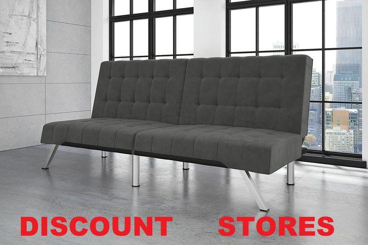 Bed Sofa Futon Dorm Gray Couch Queen Size Linen Modern Stylish Sleeping Space  #SofaFuton
