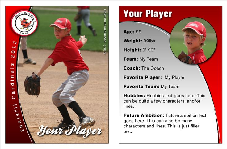16 best custom sports trading cards images on pinterest trading cards kids sports and basketball for Baseball card back template