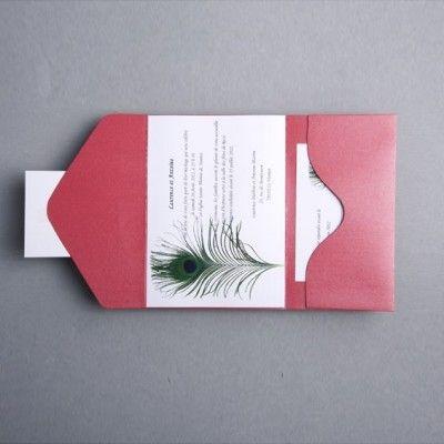 plume de paon faire part mariage classique poche style jm304 faire part de mariage pas cher sur. Black Bedroom Furniture Sets. Home Design Ideas