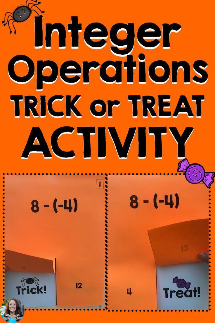 Integer Operations Halloween Activity Trick Or Treat Game Integer Operations Halloween Math Activities Integers [ 1104 x 736 Pixel ]