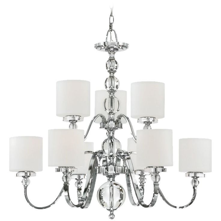 Quoizel lighting modern chandelier with white glass in polished chrome finish dw5009c