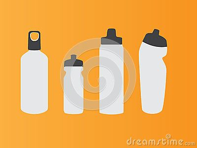 Vector water bottle with orange background and white colour