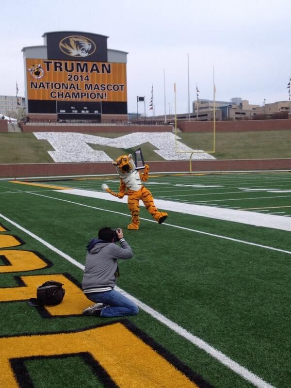 Truman the Tiger ‏@Truman_TheTiger  A behind the scenes look from media day on Faurot Field #MIZ  ~ Check this out too ~ RollTideWarEagle.com sports stories that inform and entertain and Train Deck to learn the rules of the game you love. #Collegefootball Let us know what you think. #Mizzou