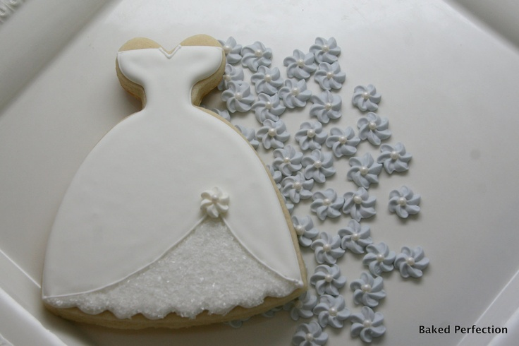 Wedding Dress Hand Decorated Cookies for Wedding Favors, Bridal Shower Favors, Bridal Event Favors. $400.00, via Etsy.