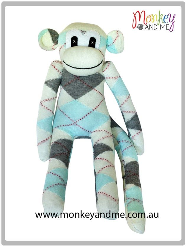 White Grey pale Blue Argyle Sock Monkey  Adopt over at http://monkeyandme.com.au #sockmonkeys #gifts #toys