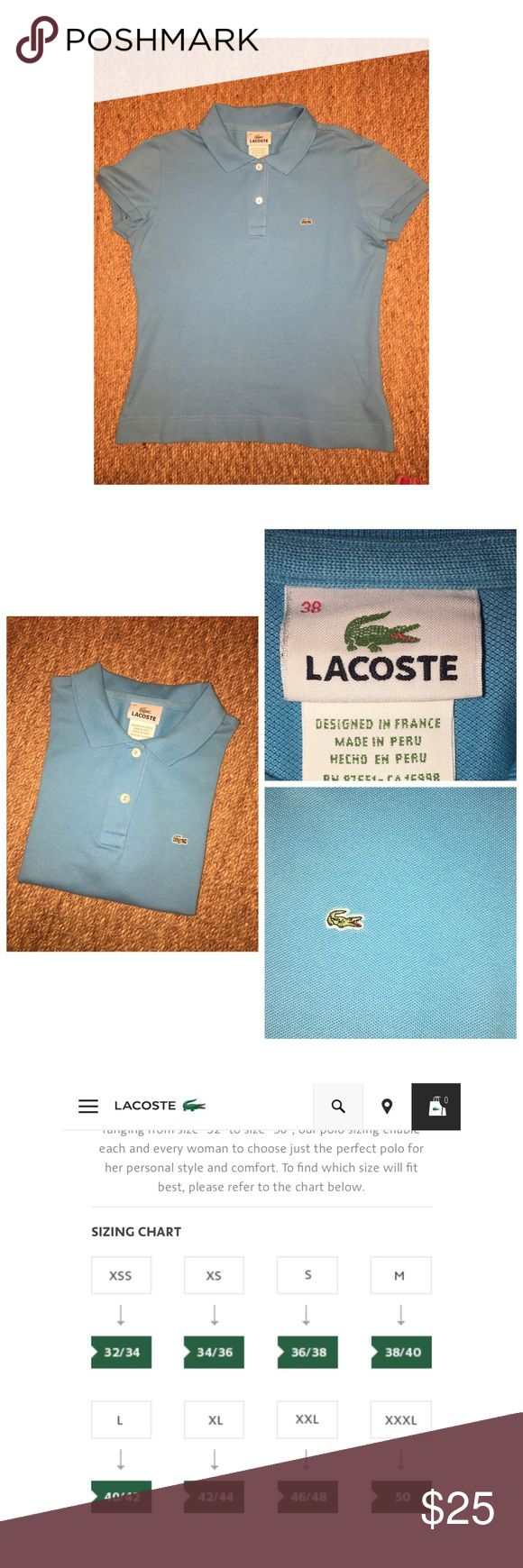 Lacoste Polo Shirt Pre•loved Lacoste Polo Shirt. Size 38/S. Made of a Cotton/Elastane blend. Light Blue color. Shows slight fading around the inside collar, not noticeable when worn.                                          Short Sleeve Classic polo in classic body Petite pique fabrication Ribbed Collar And Armbands Classic Fit. Good condition Lacoste Tops