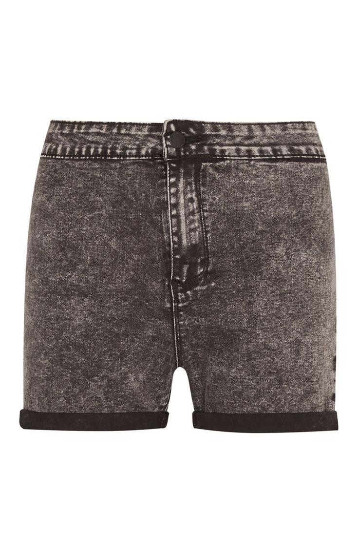 Primark - Black Acid Wash Tube Denim Shorts