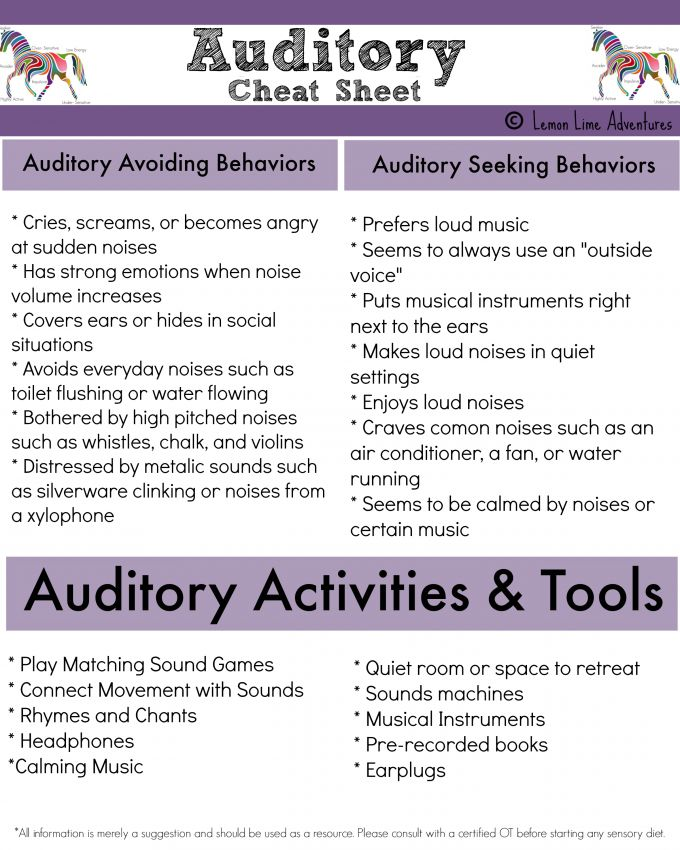 Sensory Processing Disorder| Auditory System Cheat Sheet {Free Printable} Makes it easy to understand! #spd #sensory