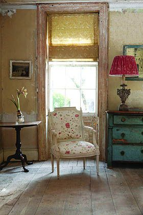 Beautiful upholstered chair and chest... And shabby woodwork // this room makes me feel so comfy and peaceful