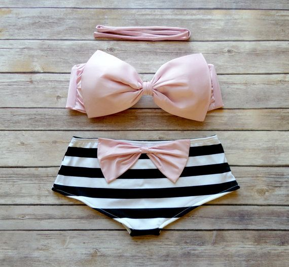 Bow Bandeau Bikini - Cheeky Boy Short Style Swimwear -  With Bow on Butt  - Pink with Stripes - Unique & So Cute! on Etsy, $48.00