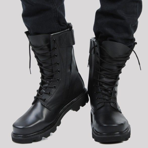 military fashion boots-leather