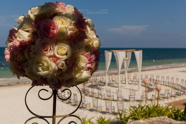 Stunning bouquet with a unique ceremony arrangement in the background #NowSapphire