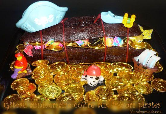 Gâteau coffre aux tresors pirates
