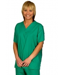 Budget Scrub Tunic - for Ireland only !- budget V-Neck scrub top, reversible, always one patch pocket available, colour code on neck, lightweight, comfort fit, loose sleeves, 50% polyester/50% cotton mix. Colours available: Ceil, Mid-Green, Cornflower, Navy, Raspberry. In sizes XS-3XL. FIND US on www.happythreads.... #dental #uniforms #nurse #female #male #scrubs #trousers #tunic  #healthcare #budget #cheap #unisex #happythreads
