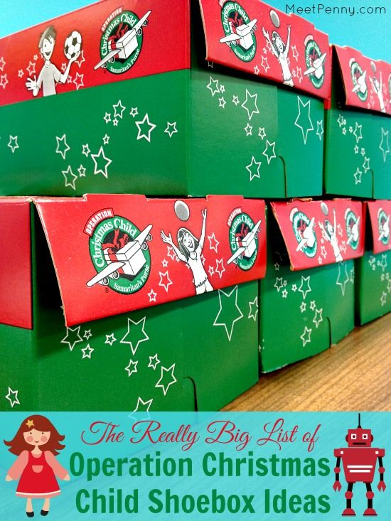 Over 175 ideas for what to pack in an Operation Christmas Child shoebox. GREAT list to remember! Would even make awesome stocking stuffers for my kids.