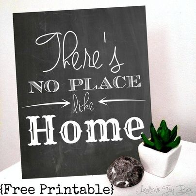 "Wizard of Oz inspired Free Chalkboard Printable ""There's No Place Like Home"""