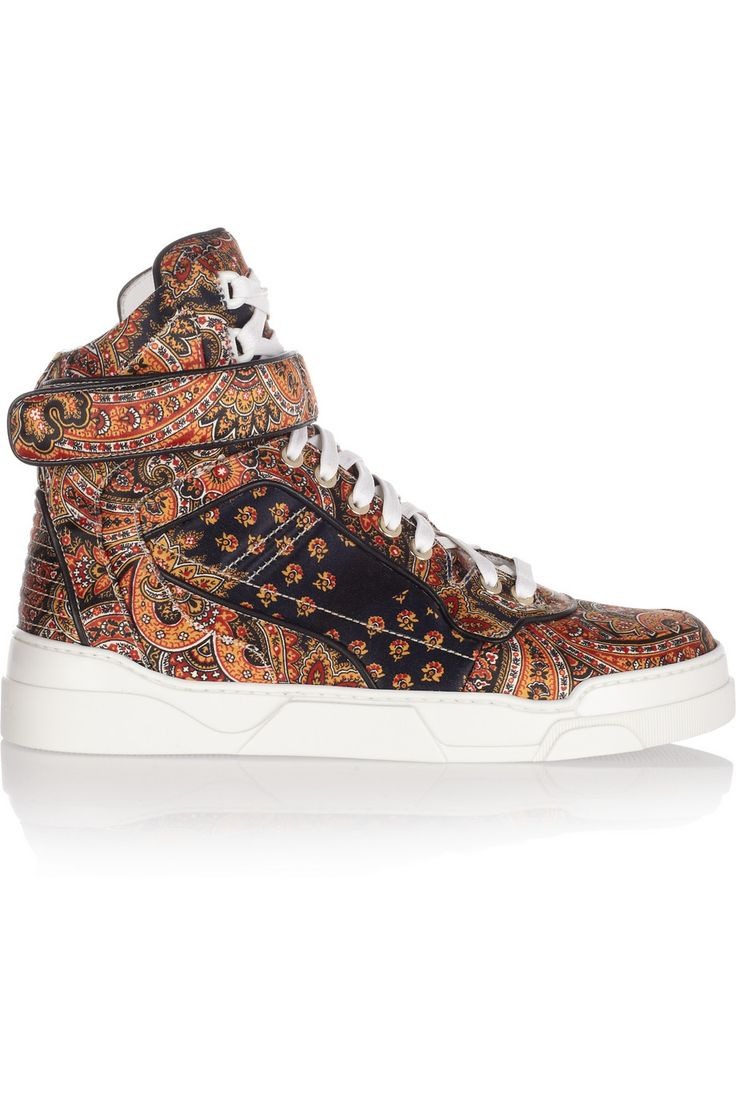 Givenchy|Printed silk-twill high-top sneakers|NET-A-PORTER.COM