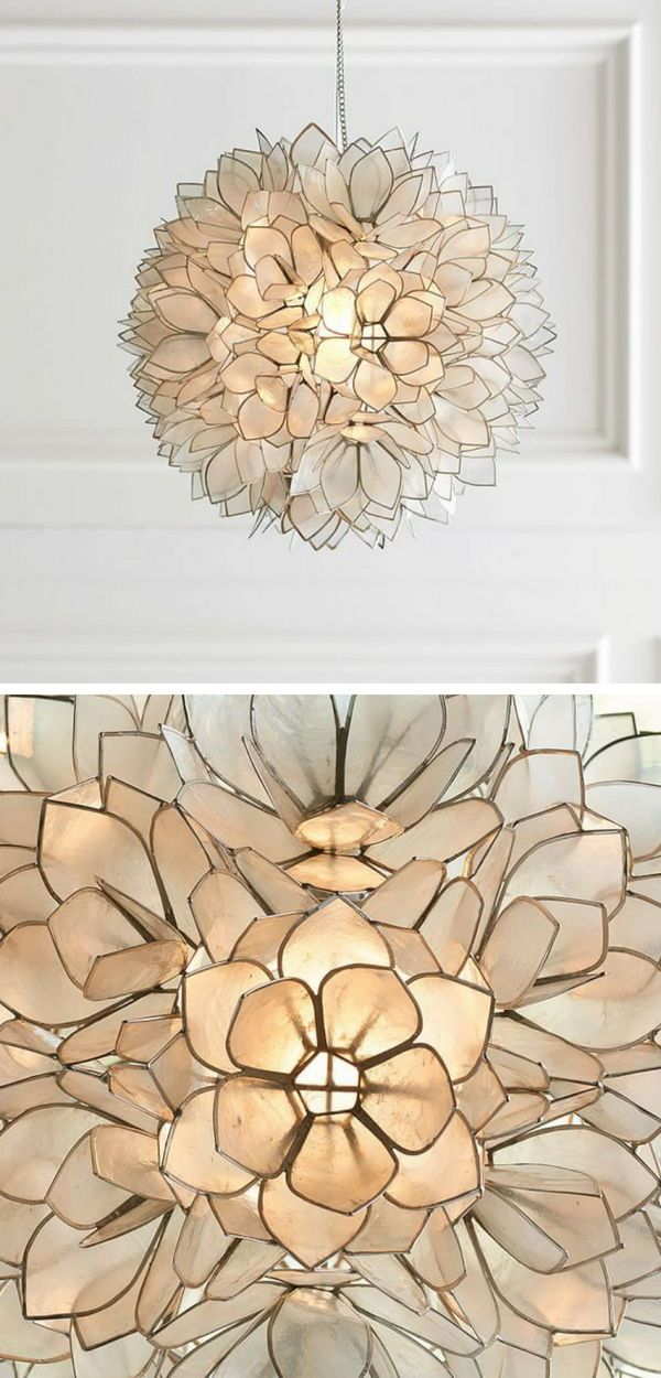 Seriously Stunning Pendant Lamp Hundreds Of Capiz Shell Petals Form